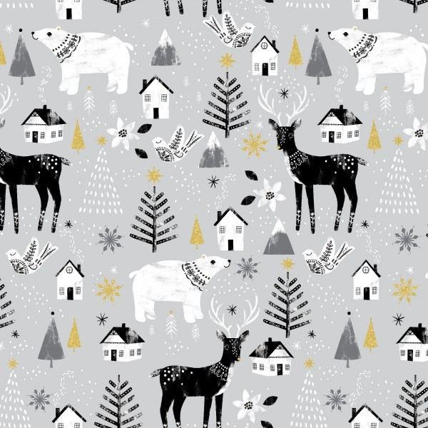 Peace On Earth (Glitter) by Fabric Editions, Patchwork Baumwolle
