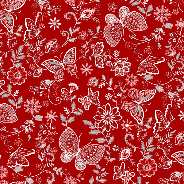 Scarlet Stitches by Henry Glass, Patchwork Baumwolle
