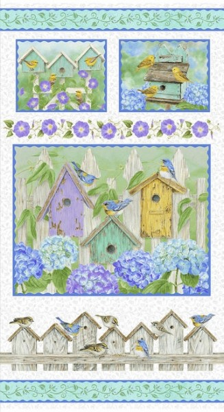 Hydrangea Birdsong by Henry Glass, Patchwork Cotton