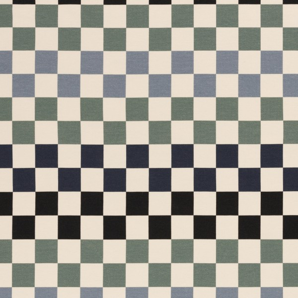 Squares 2.0 by Lila-Lotta, French Terry, Schachbrettmuster,blau/mint/schwarz