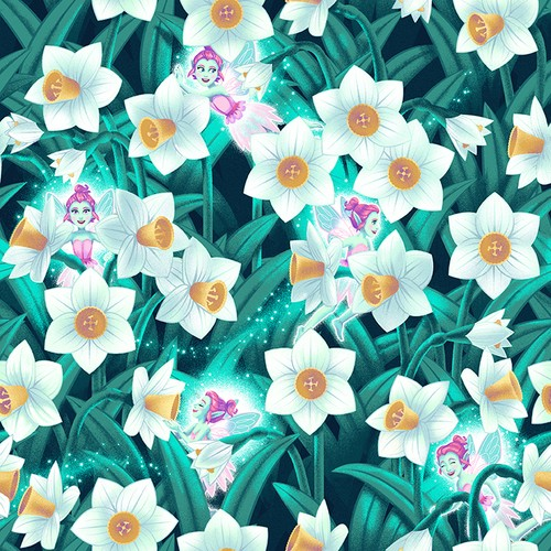 Pixies & Petals (Glow In The Dark) by Henry Glass, Patchwork Cotton