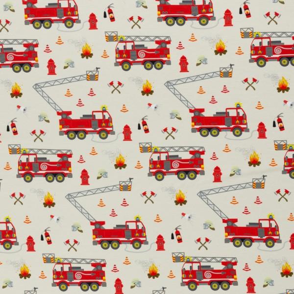 Feuerwehr, Tatütata by Sandra Kretzmann, Cotton Jersey