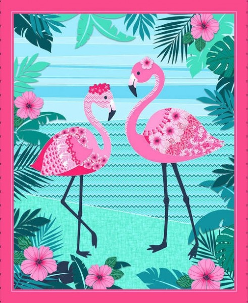 Flamingo Beach by Studio E, Patchwork Baumwolle